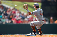 Texas Longhorns second baseman Brooks Marlow (8) awaits the throw at second base during the NCAA baseball game against the Houston Cougars on June 6, 2014 at UFCU Disch–Falk Field in Austin, Texas. The Longhorns defeated the Cougars 4-2 in Game 1 of the NCAA Super Regional. (Andrew Woolley/Four Seam Images)
