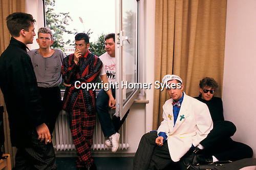 Frankie Goes to Hollywood. TV studion Munich Germany. Anton Corbijn ( photographer ) and manager Tony. 1983