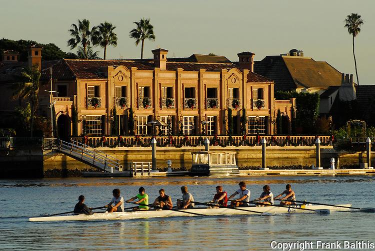 Crew rowing in Newport Beach