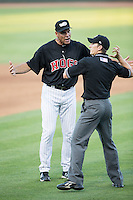 Winston-Salem Dash manager Joel Skinner (35) is ejected by umpire Chris Marco after arguing a call during the game against the Salem Red Sox at BB&T Ballpark on June 16, 2016 in Winston-Salem, North Carolina.  The Dash defeated the Red Sox 7-1.  (Brian Westerholt/Four Seam Images)