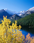 Fall-colored view of Glacier Gorge and Bear Lake, Rocky Mtn Nat'l Park, CO
