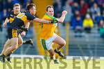 Barry O'Dwyer, South Kerry  in action against John Payne, Dr Crokes during the Semi finals of the Kerry Senior GAA Football Championship between Dr Crokes and South Kerry at Fitzgerald Stadium on Sunday.