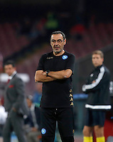 Calcio, Champions League: Napoli vs Benfica. Napoli, stadio San Paolo, 28 settembre 2016.<br /> Napoli's coach Maurizio Sarri follows the game during the Champions League Group B soccer match between Napoli and Benfica at Naple's San Paolo stadium, 28 September 2016. Napoli won 4-2.<br /> UPDATE IMAGES PRESS/Isabella Bonotto