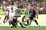 FC Barcelona's Jordi Alba (l), Jasper Cillessen (b) and Clement Lenglet (r) and Valencia CF's Kavin Gameiro during Spanish King's Cup Final match. May 25,2019. (ALTERPHOTOS/Carrusan)