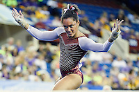 Oklahoma's Ali Jackson competes on the floor exercise during the semifinals of the NCAA women's gymnastics championships, Friday, April 17, 2015 in Fort Worth, Tex.(Mo Khursheed/TFV Media via AP Images)