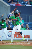 Cristian Pache (15) of the Gwinnett Stripers at bat against the Scranton/Wilkes-Barre RailRiders at BB&T BallPark on August 16, 2019 in Lawrenceville, Georgia. The Stripers defeated the RailRiders 5-2. (Brian Westerholt/Four Seam Images)