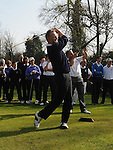 Captain Martin Commins tees off at the captain's drive in at ardee golf club. Photo: Colin Bell/pressphotos.ie
