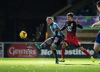 Michael Harriman of Wycombe Wanderers plays a pass under pressure from Rúben Lameiras of Coventry City during the The Checkatrade Trophy Southern Group D match between Wycombe Wanderers and Coventry City at Adams Park, High Wycombe, England on 9 November 2016. Photo by Andy Rowland.