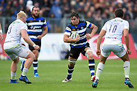 Francois Louw of Bath Rugby in possession. Aviva Premiership match, between Bath Rugby and Saracens on September 9, 2017 at the Recreation Ground in Bath, England. Photo by: Patrick Khachfe / Onside Images