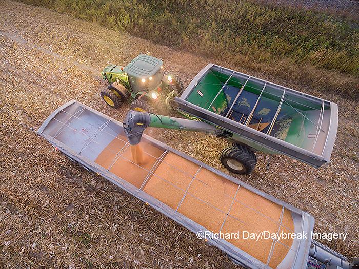 63801-08118 Corn Harvest, unloading corn into semi-truck - aerial Marion Co. IL