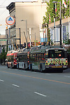 Trams/Trolley bus / Down town buildings, Vancouver, British Colombia, Canada. British Columbia, Canada