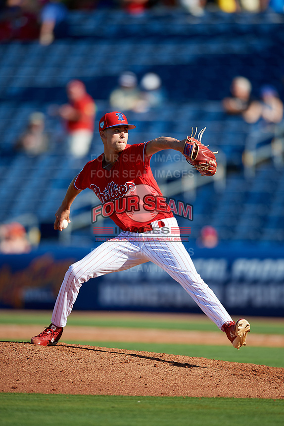 Philadelphia Phillies relief pitcher Tyler McKay (85) delivers a pitch during a Grapefruit League Spring Training game against the Baltimore Orioles on February 28, 2019 at Spectrum Field in Clearwater, Florida.  Orioles tied the Phillies 5-5.  (Mike Janes/Four Seam Images)