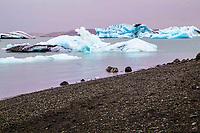 Glacial Icebergs in Jokulsarlon Lagoon