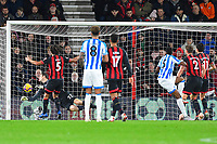 Terence Kongolo of Huddersfield Town (5) scores a header past Asmir Begovic of AFC Bournemouth to make the score 2-1 during AFC Bournemouth vs Huddersfield Town, Premier League Football at the Vitality Stadium on 4th December 2018