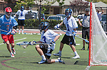 Orange, CA 05/17/14 - Kyrn Stoddard (Grand Valley State #23) in action during the 2014 MCLA Division II Men's Lacrosse Championship game between Grand Valley State University and St John University at Chapman University in Orange, California.  Grand Valley Defeated St John 12-11.