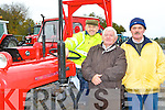 John Clifford Cordal Frank Moriarty Castleisland and Denis Brosnan Knocknagoshel at the start of the  Paudie Fitzmaurice Memorial vintage tractor run at Castleisland Mart on Sunday
