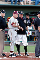 Mark Marquess (Stanford Coach) and Pat Murphy (Arizona State coach) meet at home plate before the game between Stanford and Arizona State  at Packard Stadium - 04/17/2009.Photo by:  Bill Mitchell/Four Seam Images..
