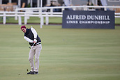 3rd October 2017, The Old Course, St Andrews, Scotland; Alfred Dunhill Links Championship, practice round; Former England cricket captain Kevin Pietersen pitches to the 18th green on the Old Course, St Andrews during a practice round ahead of the Alfred Dunhill Links Championship