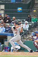Frederick Keys first baseman Cam Kneeland (39) at bat during a game against the Myrtle Beach Pelicans at Ticketreturn.com Field at Pelicans Ballpark on April 10, 2016 in Myrtle Beach, South Carolina. Myrtle Beach defeated Frederick 7-5. (Robert Gurganus/Four Seam Images)