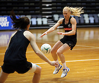06.10.2014 Silver Fern Laura Langman in action at the Silver Ferns training ahead of the netball test match againt Australia in Melbourne. Mandatory Photo Credit ©Michael Bradley.