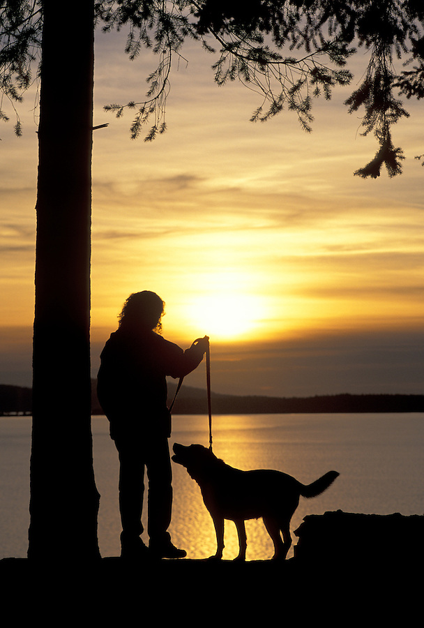 Woman and dog silhouetted against sunset, Washington
