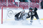 Nick Ellis (PC - 35), Derek Army (PC - 19) -  - The participating teams in Hockey East's first doubleheader during Frozen Fenway practiced on January 3, 2014 at Fenway Park in Boston, Massachusetts.