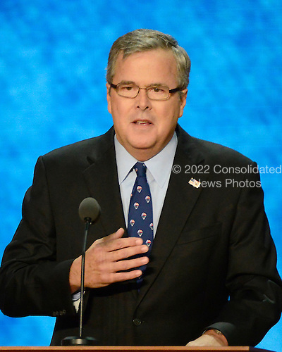 Former Governor Jeb Bush (Republican of Florida) makes remarks at the 2012 Republican National Convention in Tampa Bay, Florida on Thursday, August 30, 2012.  .Credit: Ron Sachs / CNP.(RESTRICTION: NO New York or New Jersey Newspapers or newspapers within a 75 mile radius of New York City)
