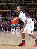 Stanford's Lili Thompson, looks for an open player during Stanford women's basketball  vs Washington State at Maples Pavilion, Stanford, California on March 1, 2014.