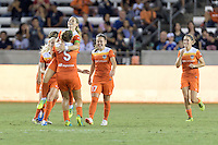 Houston, TX - Saturday Sept. 03, 2016: Cari Roccaro, Kealia Ohai celebrates scoring, Andressa Machry, Morgan Brian during a regular season National Women's Soccer League (NWSL) match between the Houston Dash and the Orlando Pride at BBVA Compass Stadium.