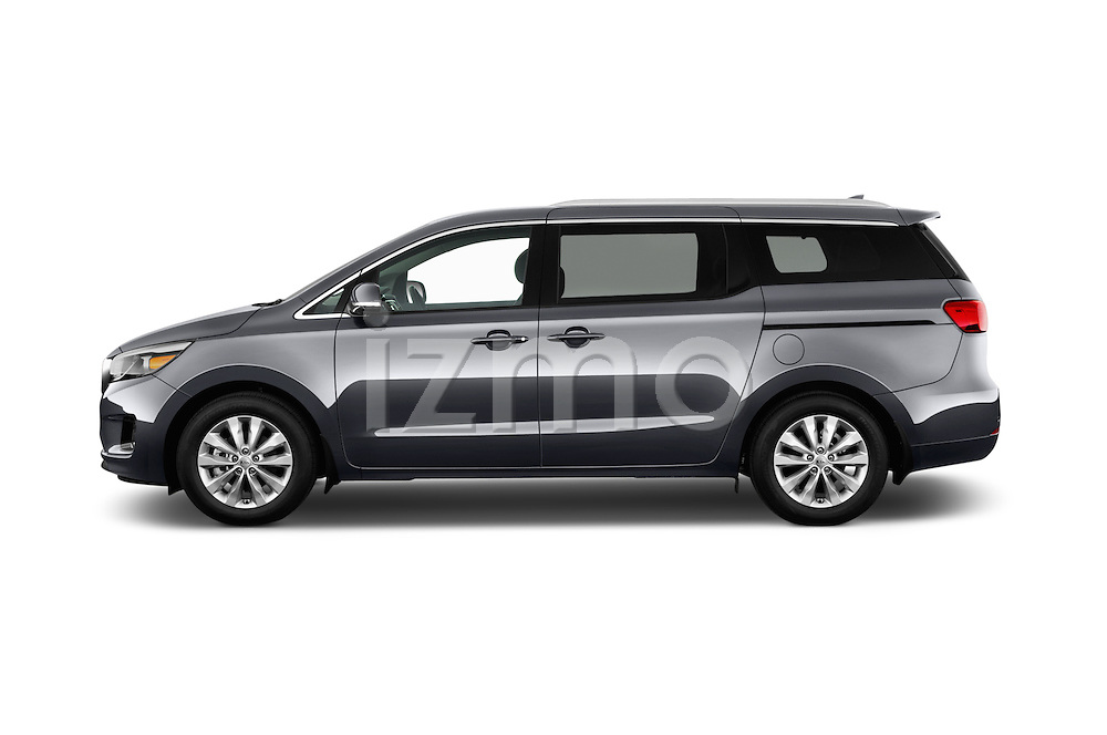 Car Driver side profile view of a 2015 KIA Sedona EX 5 Door Minivan Side View