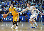 February 7, 2015 - Colorado Springs, Colorado, U.S. -  Wyoming guard, Josh Adams #14, battles Air Force guard, Max Yon #22, during an NCAA basketball game between the University of Wyoming Cowboys and the Air Force Academy Falcons at Clune Arena, U.S. Air Force Academy, Colorado Springs, Colorado.  Air Force soars to a 73-50 win over Wyoming.