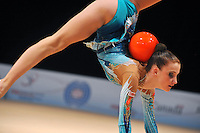 Aliaksandra Narkevich of Belarus performs with ball during AA qualifications at World Cup Montreal on January 29, 2011.  (Photo by Tom Theobald).
