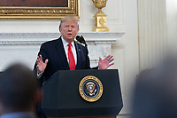 United States President Donald J. Trump makes remarks at the White House Business Session with governors at the White House in Washington, DC during the National Governor's Association meetings. Credit: Chris Kleponis / Pool via CNP/AdMedia