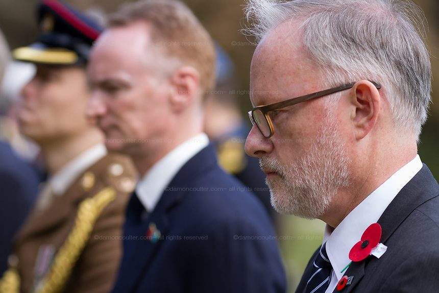 The New Zealand Ambassador to Japan, Stephen Payton at the Remembrance Sunday ceremony at the Hodogaya, Commonwealth War Graves Cemetery in Hodogaya, Yokohama, Kanagawa, Japan. Sunday November 11th 2018. The Hodagaya Cemetery holds the remains of more than 1500 servicemen and women, from the Commonwealth but also from Holland and the United States, who died as prisoners of war or during the Allied occupation of Japan. Each year officials from the British and Commonwealth embassies, the British Legion and the British Chamber of Commerce honour the dead at a ceremony in this beautiful cemetery. The year 2018 marks the centenary of the end of the First World War in 1918.