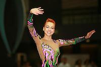 Natalya Godunko of Ukraine celebrates winning All-Around gold during awards ceremony at 2006 Portimao World Cup of Rhythmic Gymnastics on September 9, 2006.  (Photo by Tom Theobald)