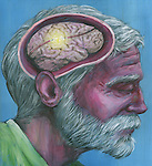 Illustration shot of senior man with Alzheimer's disease