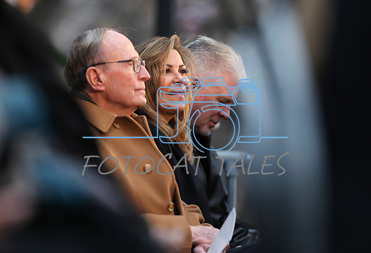 From left, former Gov. Richard Bryant and newly sworn Supreme Court Justice Abbi Silver listen to a speaker at the inauguration at the Capitol, in Carson City, Nev., on Monday, Jan. 7, 2019. <br /> Photo by Cathleen Allison/Nevada Momentum