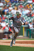 Garrett Mitchell (5) of Orange Lutheran High School in Anaheim, California during the Under Armour All-American Game presented by Baseball Factory on July 23, 2016 at Wrigley Field in Chicago, Illinois.  (Mike Janes/Four Seam Images)
