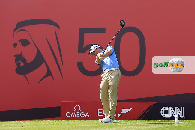 Bradley Dredge (WAL) on the 2nd during Round 3 of the Omega Dubai Desert Classic, Emirates Golf Club, Dubai,  United Arab Emirates. 26/01/2019<br /> Picture: Golffile | Thos Caffrey<br /> <br /> <br /> All photo usage must carry mandatory copyright credit (&copy; Golffile | Thos Caffrey)