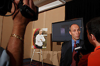 New U.S. National Team head coach Bob Bradley is interviewed by MSG network at his introduction at the New York Marriott Marquis Times Square, New York, NY, on May 16, 2007.