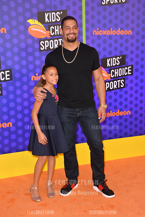 Joelle Anoai &amp; Roman Reigns at the Nickelodeon Kids' Choice Sports Awards 2018 at Barker Hangar, Santa Monica, USA 19 July 2018<br /> Picture: Paul Smith/Featureflash/SilverHub 0208 004 5359 sales@silverhubmedia.com