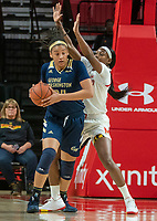 COLLEGE PARK, MD - NOVEMBER 20: Kaila Charles #5 of Maryland defends against Kayla Mokwuah #24 of George Washington during a game between George Washington University and University of Maryland at Xfinity Center on November 20, 2019 in College Park, Maryland.
