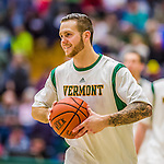 26 January 2014: University of Vermont Catamount Guard Candon Rusin, a Senior from Wilmington, VT, warms up prior to facing the Binghamton University Bearcats at Patrick Gymnasium in Burlington, Vermont. The Catamounts defeated the Bearcats 72-39 to notch their 12th win of the season. Mandatory Credit: Ed Wolfstein Photo *** RAW (NEF) Image File Available ***