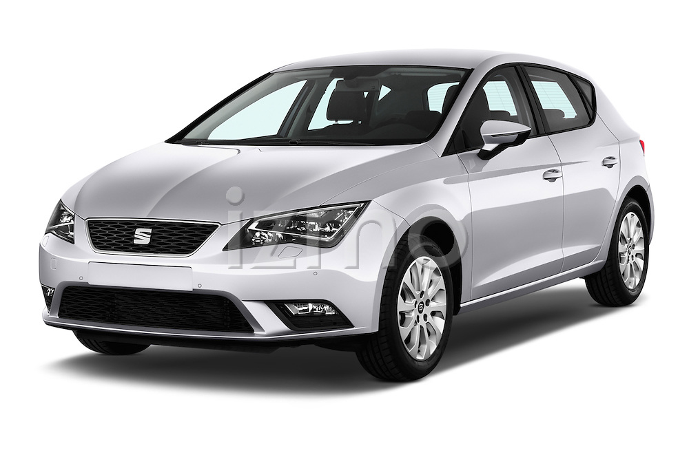 2015 Seat Leon Style 5 Door Hatchback Angular Front stock photos of front three quarter view