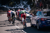Arnaud D&eacute;mare (FRA/Groupama-FDJ) dropping back for supplies<br /> <br /> 76th Paris-Nice 2018<br /> stage 6: Sisteron &gt; Vence (198km)