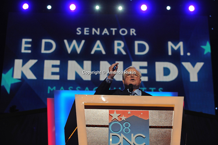 Senator Edward Kennedy speaks at the Democratic National Convention at the Pepsi Center in Denver, Colorado on August 25, 2008.
