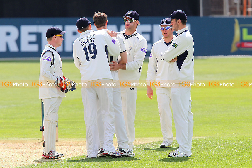 Hampshire players celebrate the wicket of Alastair Cook - Essex CCC vs Hampshire CCC - LV County Championship Division Two Cricket at the Essex County Ground, Chelmsford - 30/04/13 - MANDATORY CREDIT: Gavin Ellis/TGSPHOTO - Self billing applies where appropriate - 0845 094 6026 - contact@tgsphoto.co.uk - NO UNPAID USE.