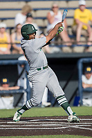 Eastern Michigan Eagles third baseman Marquise Gill (4) swings the bat during the NCAA baseball game against the Michigan Wolverines on May 16, 2017 at Ray Fisher Stadium in Ann Arbor, Michigan. Michigan defeated Eastern Michigan 12-4. (Andrew Woolley/Four Seam Images)