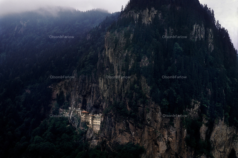 Sumela Monastery.  Remnants of many cultures hang to on these mountain walls. Today this Byzantine monastery has no place in an Islamic society.