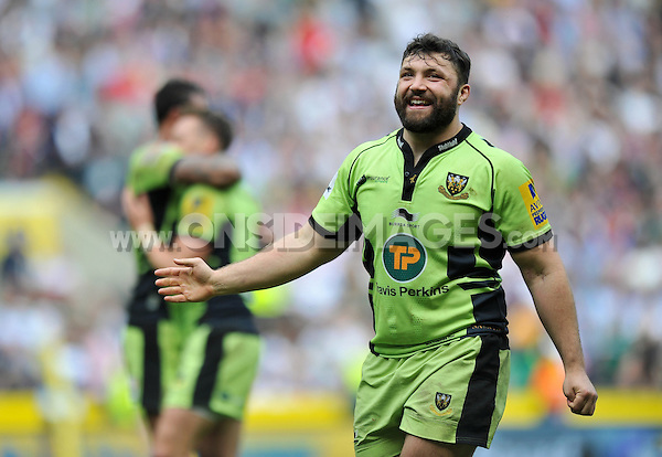 Alex Corbisiero is all smiles after the match. Aviva Premiership Final, between Saracens and Northampton Saints on May 31, 2014 at Twickenham Stadium in London, England. Photo by: Patrick Khachfe / JMP